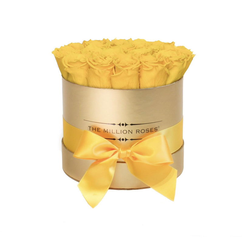 Small - Yellow Eternity Roses - Gold Box - The Million Roses Slovakia