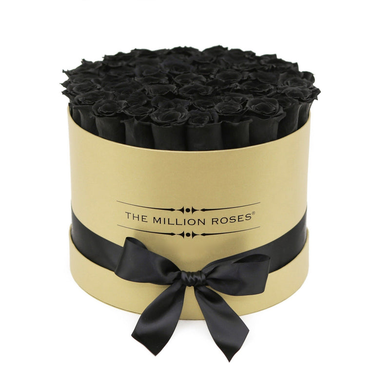 Medium - Black Eternity Roses - Gold Box - The Million Roses Slovakia