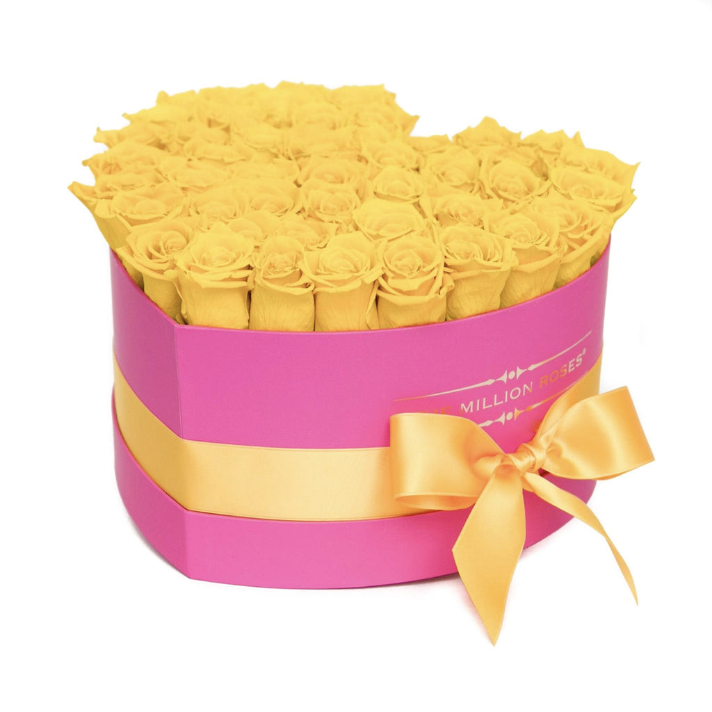 The Million Love Heart - Yellow Eternity Roses - Hot Pink Box