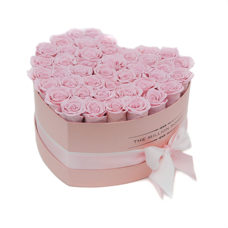 The Million Love Heart - Light Pink Eternity Roses - Pink Box - The Million Roses Slovakia