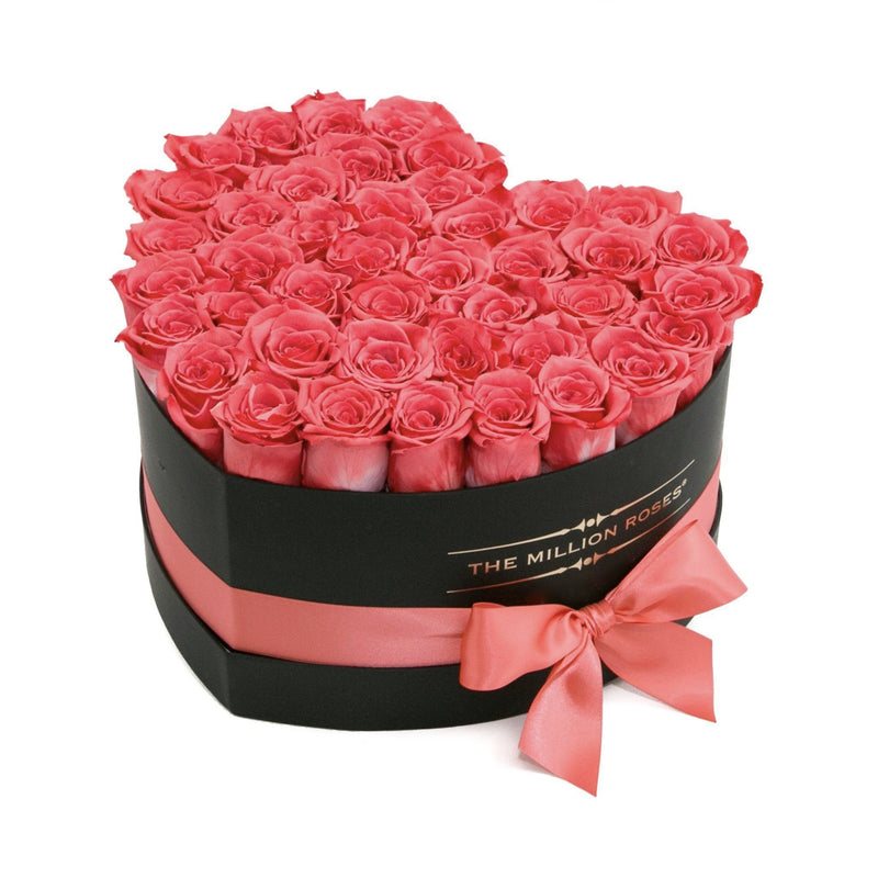 The Million Love Heart - Coral Eternity Roses - Black Box - The Million Roses Slovakia