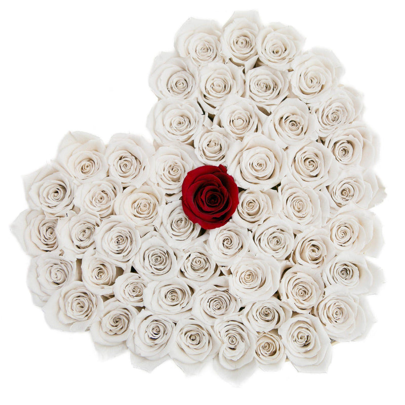 The Million Love Heart - White + 1 Red Roses - Vanilla Box - The Million Roses Slovakia