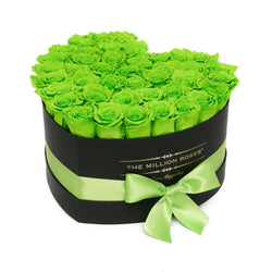 The Million Love Heart - Green Eternity Roses - Black Box - The Million Roses Slovakia