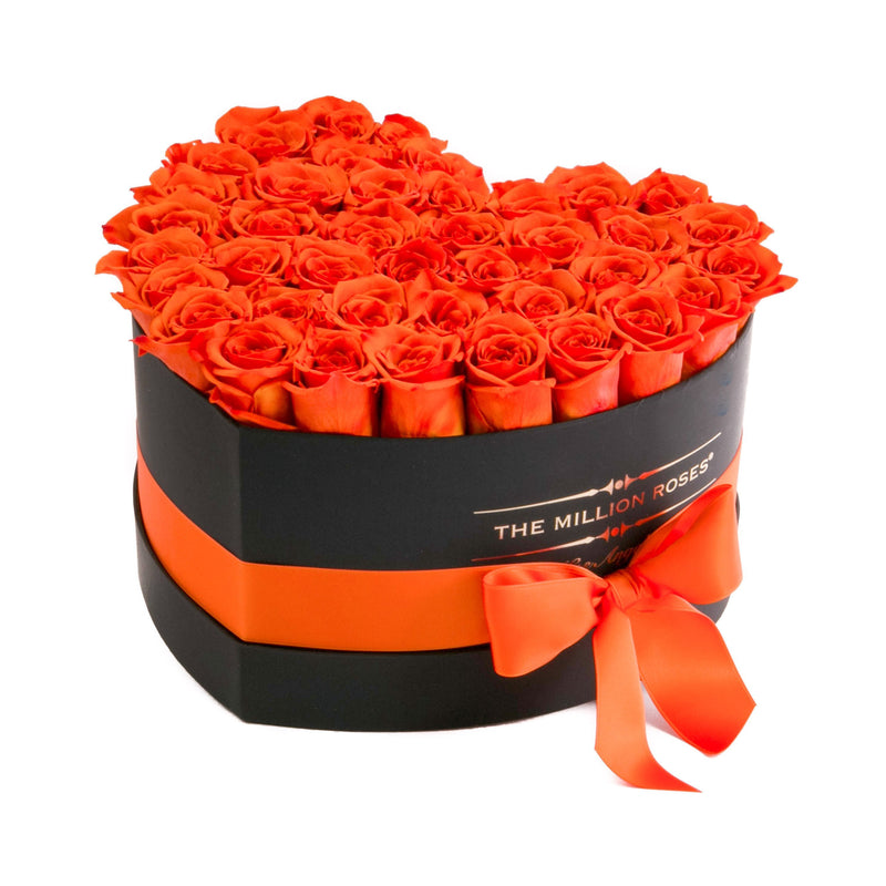 The Million Roses Europe - Heart - Hermès Orange Roses - Black Box Delivered Anywhere in Europe