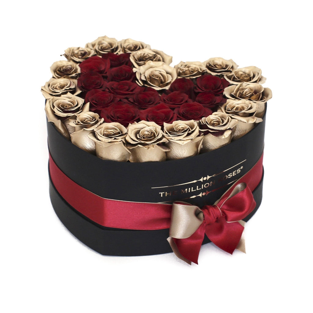 The Million Roses Europe - The Million Love Heart - Red/Gold 2 Eternity Roses - Black Box Delivered Anywhere in Europe