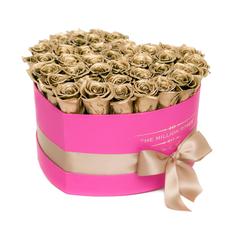 The Million Love Heart - Gold  Roses - Hot Pink Box