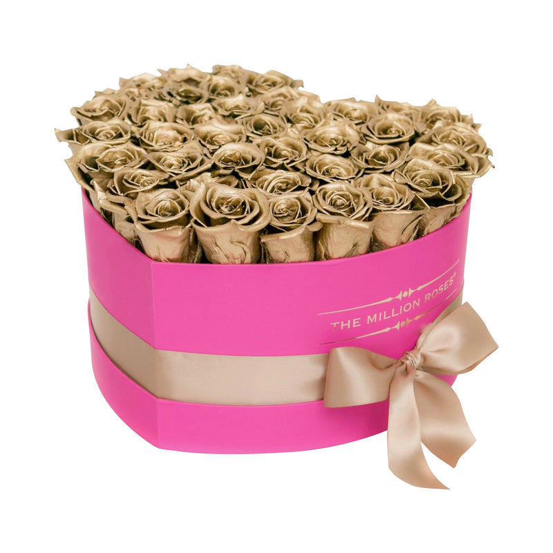 The Million Roses Europe - The Million Love Heart - Gold Eternity Roses - Hot Pink Box Delivered Anywhere in Europe