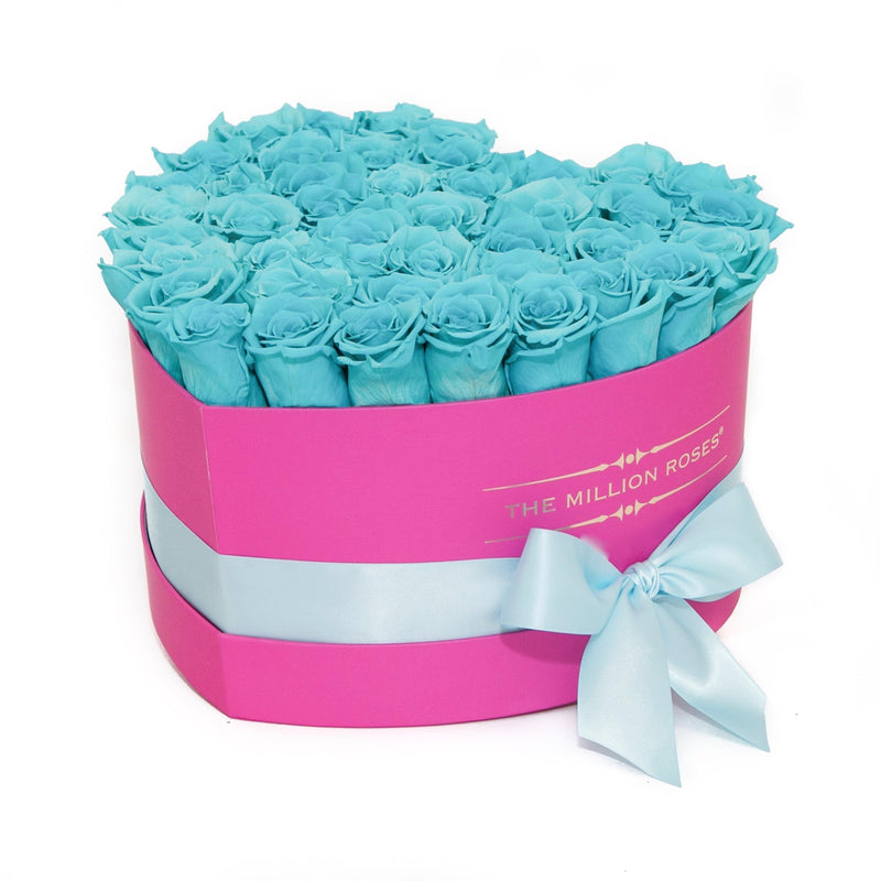 The Million Roses Europe - The Million Love Heart - Tiffany Blue Eternity Roses - Hot Pink Box Delivered Anywhere in Europe
