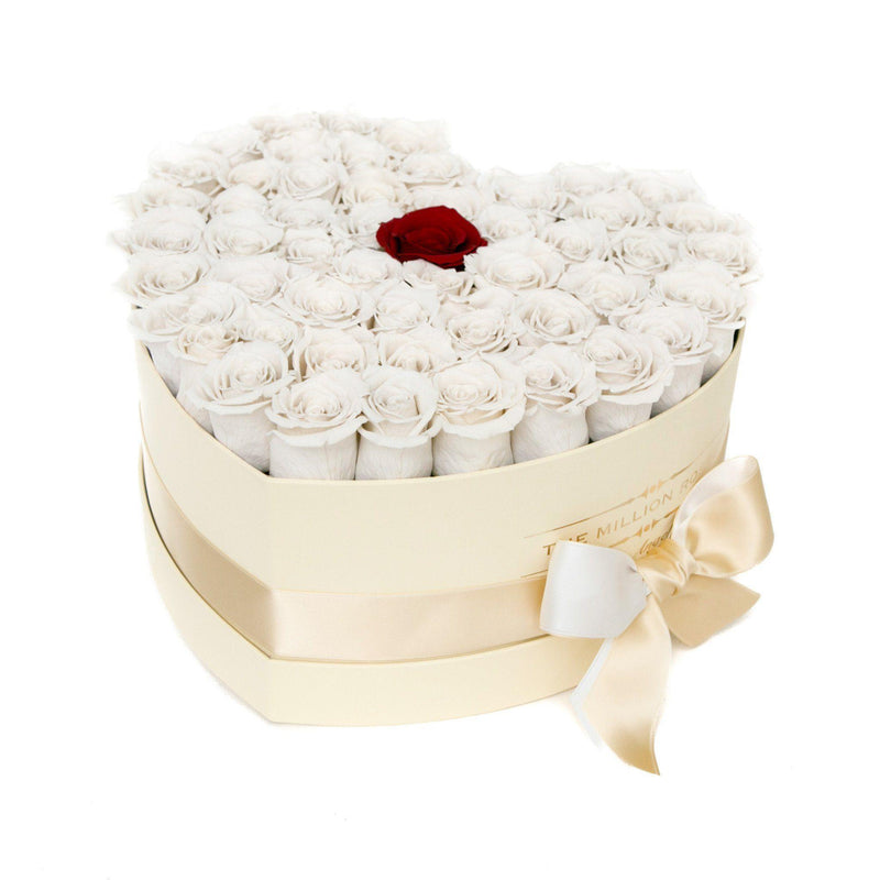 The Million Love Heart - White + 1 Red Roses - Vanilla Box