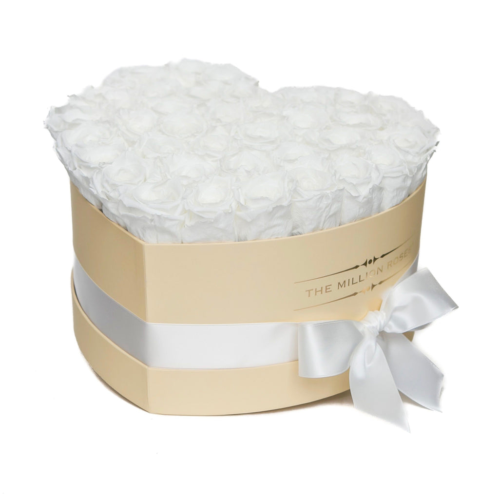 The Million Roses Europe - The Million Love Heart - White Eternity Roses - Vanilla Box Delivered Anywhere in Europe