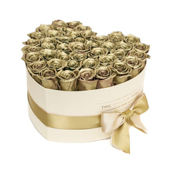 The Million Roses Europe - The Million Love Heart - Gold Eternity Roses - Vanilla Box Delivered Anywhere in Europe