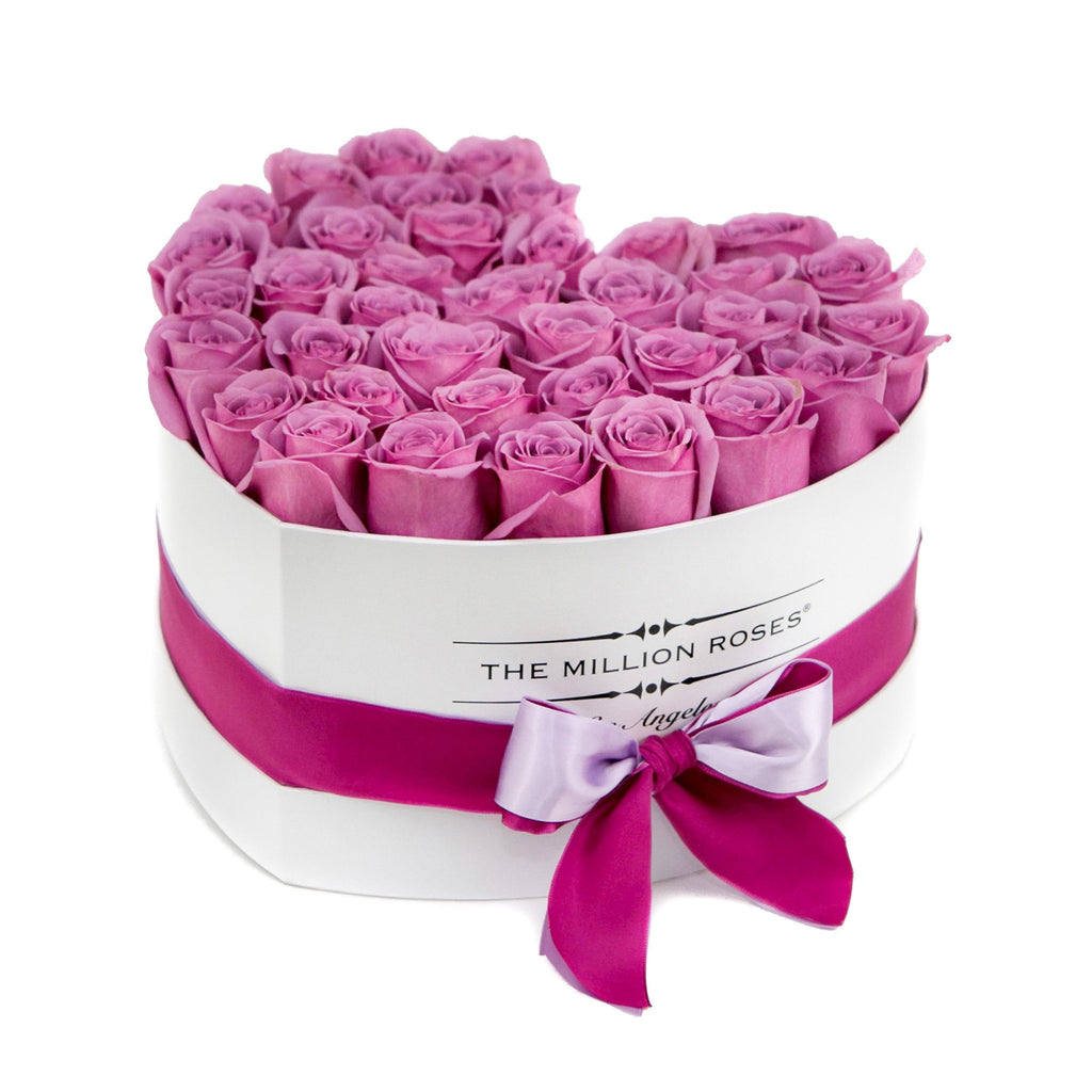 The Million Love Heart - Pink Roses - White Box