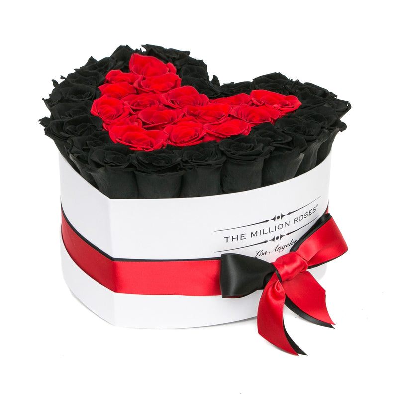 The Million Love Heart - Black & Red Roses - White Box - The Million Roses Slovakia