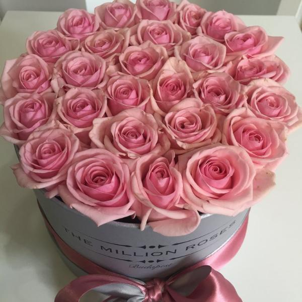 Small - Pink Roses - Silver Box