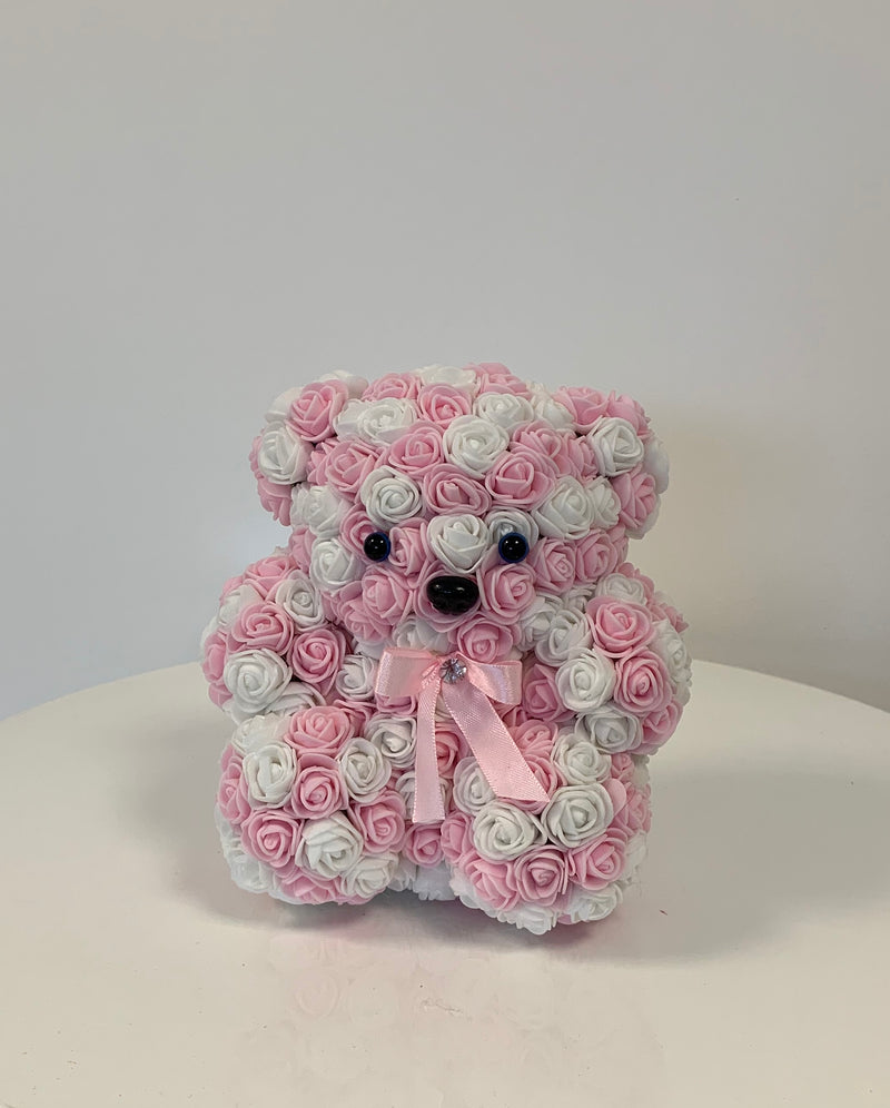 Rose Bear -Pink & White - The Million Roses Slovakia