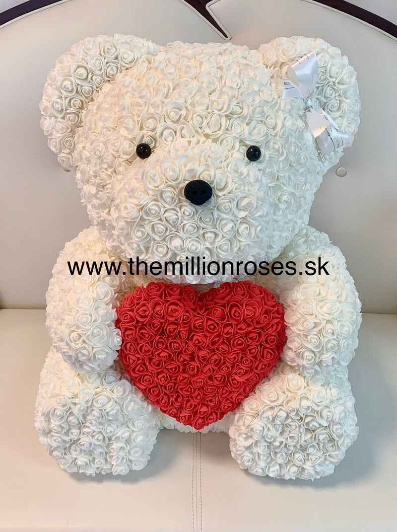 Rose Bear-White, ♥Red  70cm - The Million Roses Slovakia