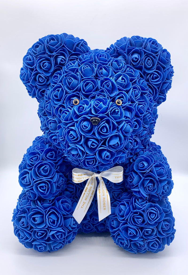 Rose Bear-  Blue, 40cm - The Million Roses Slovakia