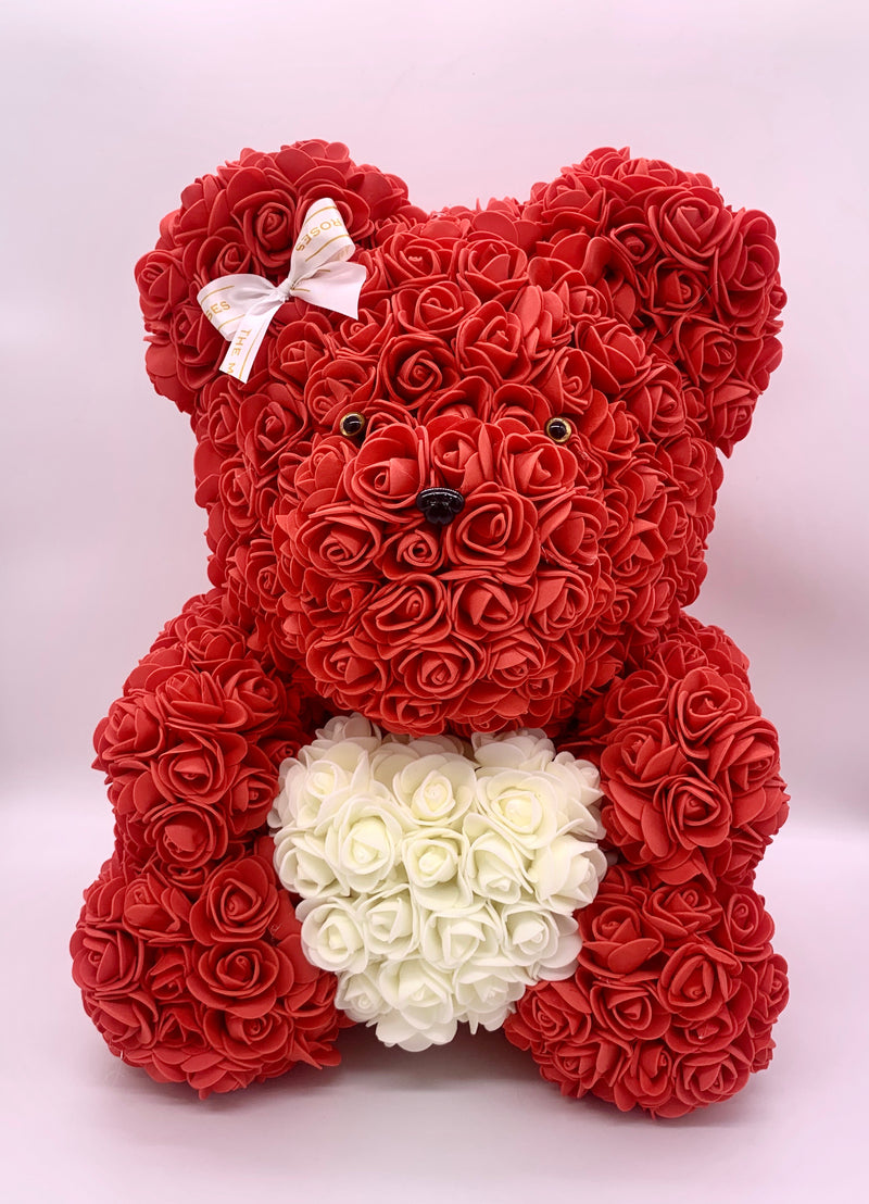 Rose Bear-  Red,  ♥ White, 40cm - The Million Roses Slovakia