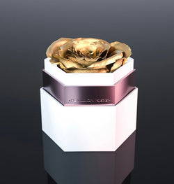one in a million™ hexagon - biely box / nickel ring / zlaté ruže - The Million Roses Slovakia