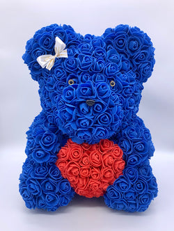 Rose Bear-  Blue,  ♥ Red, 40cm - The Million Roses Slovakia