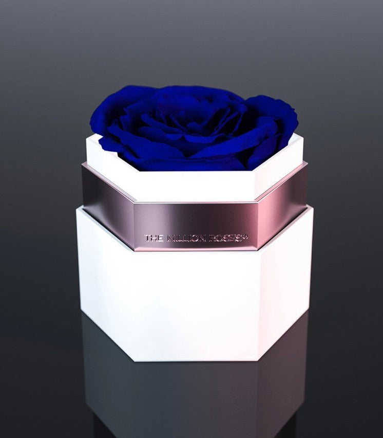 one in a million™ hexagon - biely box / nickel ring / modré ruže - The Million Roses Slovakia