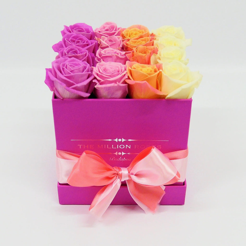 Cube - Mix 4 Roses - Hot Pink Box - The Million Roses Slovakia