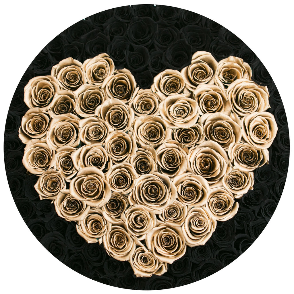 The Million Roses Europe - The Million Large Luxury Box - Black Roses & Gold Eternity Heart Delivered Anywhere in Europe