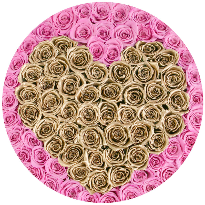 The Million Large Luxury Box - Candy Pink & Gold Eternity Roses - White Box - The Million Roses Slovakia