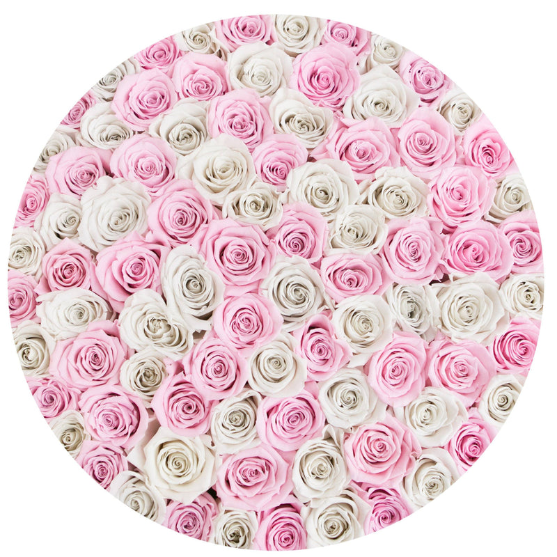 The Million Large Luxury Box - Candy Pink & White Eternity Roses - White Box - The Million Roses Slovakia