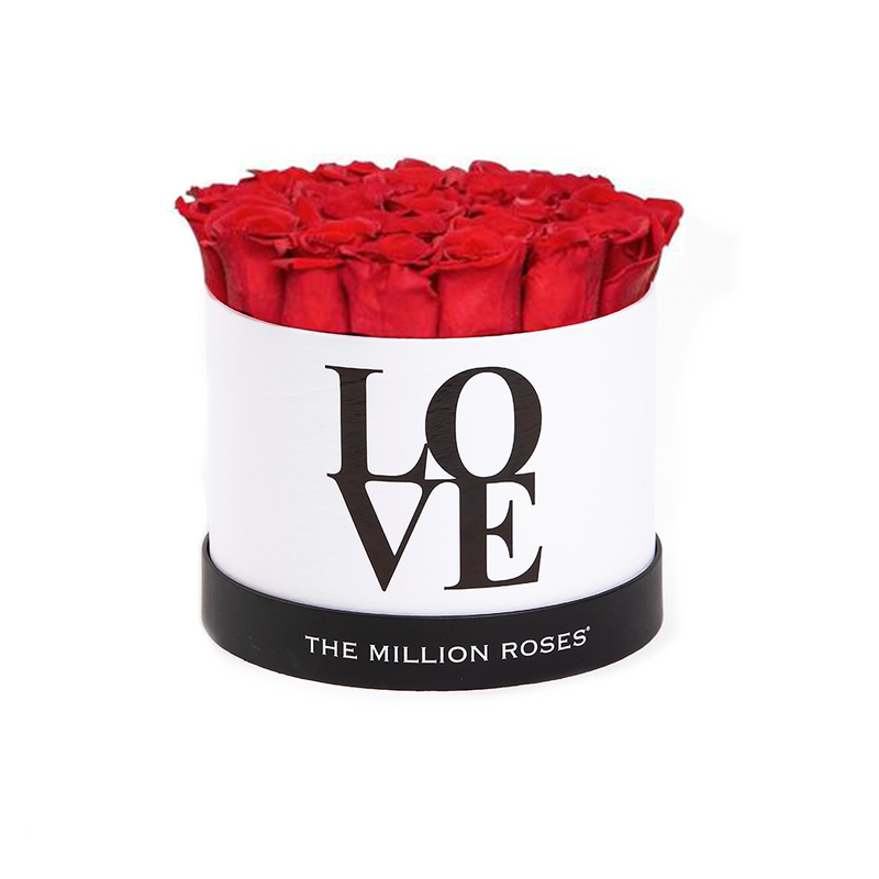 LOVE White Small - Red Eternity Roses - The Million Roses Slovakia