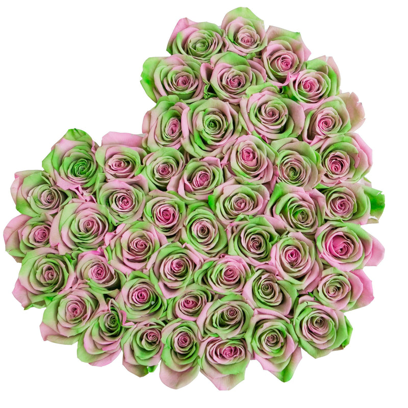 The Million Love Heart - Green-Pink Roses - Hot Pink Box - The Million Roses Slovakia