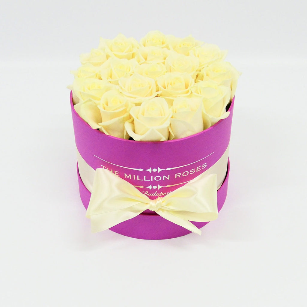 Small - White Roses  - Hot Pink Box
