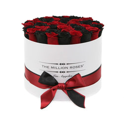 Medium - Black & Red Roses - White Box - The Million Roses Slovakia
