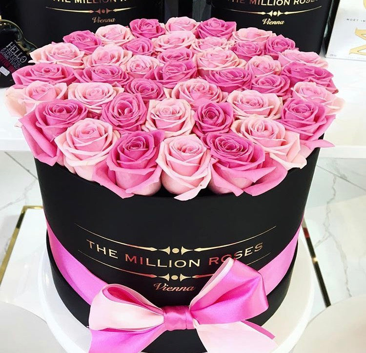 Medium -Light Pink & Dark Pink Roses - Black Box
