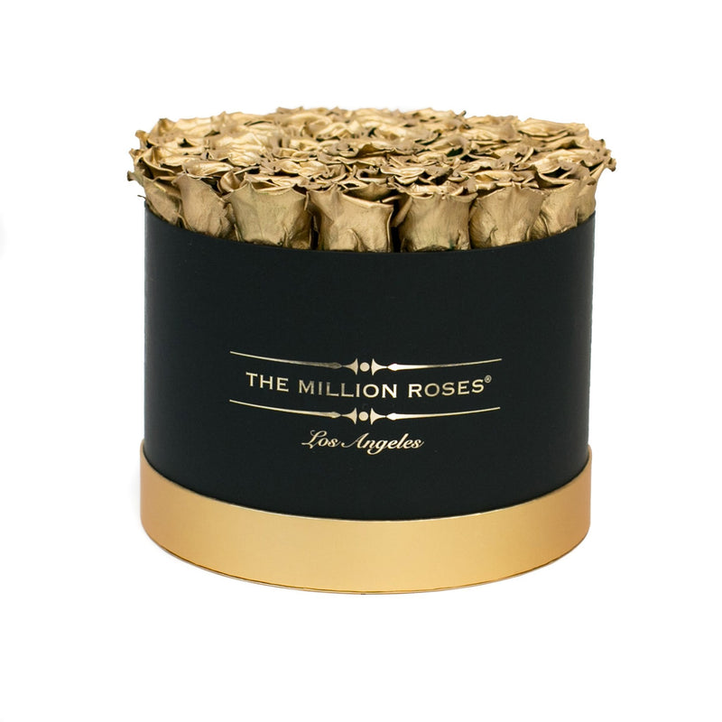 Medium - Gold Eternity Roses - Black & Gold Box - The Million Roses Slovakia