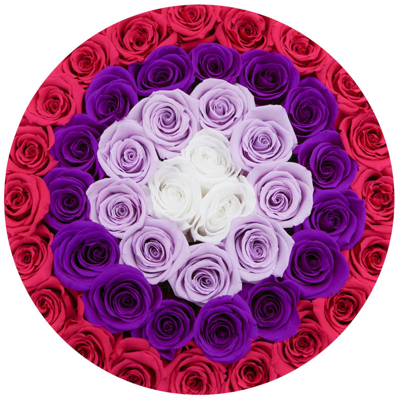 "The Million Large Luxury Box - ""Target"" Red / Hot Pink / White Roses - White Box - The Million Roses Slovakia"