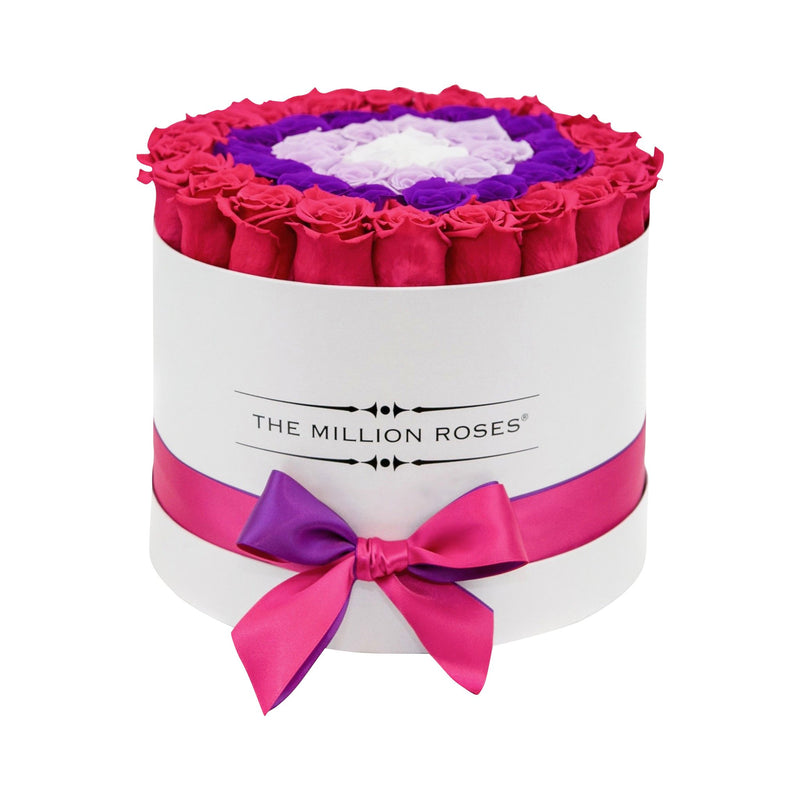 Medium White Box - Hot Pink / Pink / Lavender White Eternity Roses - The Million Roses Slovakia