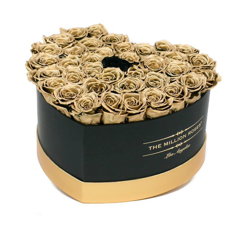 The Million Love Heart - Gold Eternity Roses - Black & Gold Box - The Million Roses Slovakia