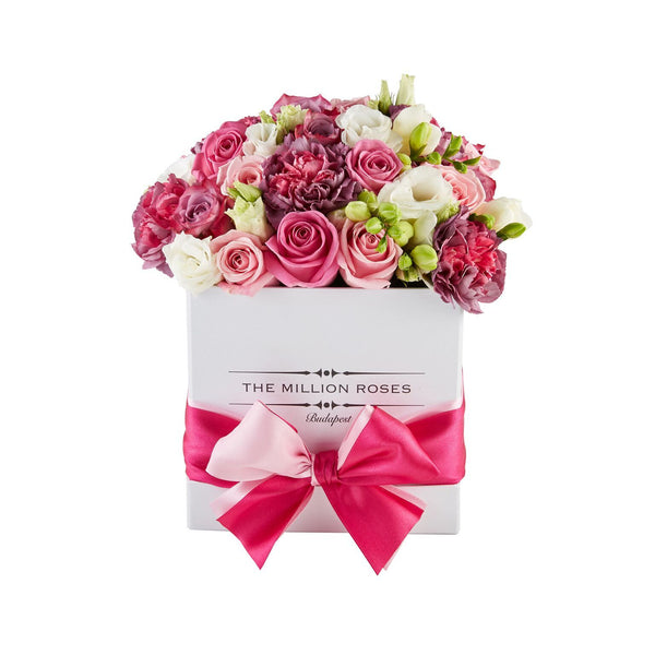 Cube - Pink Mix- White Box - The Million Roses Slovakia