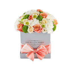 Cube - Orange Mix- Silver Box - The Million Roses Slovakia
