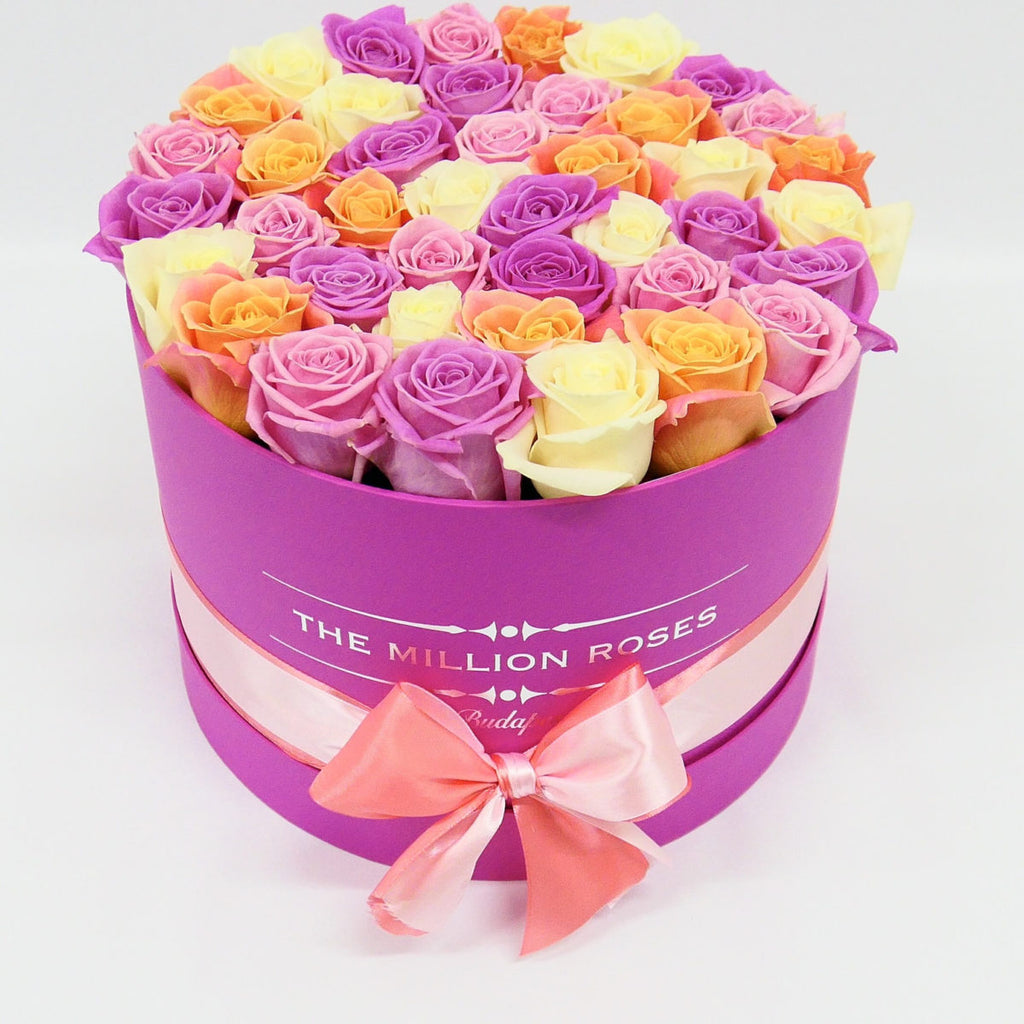 Medium - Mix Roses - Hot Pink Box