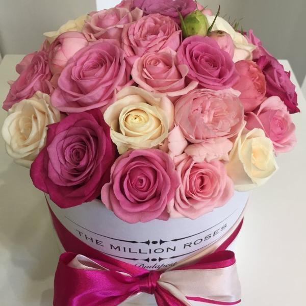 Small - Pink Lady Roses - White Box - The Million Roses Slovakia