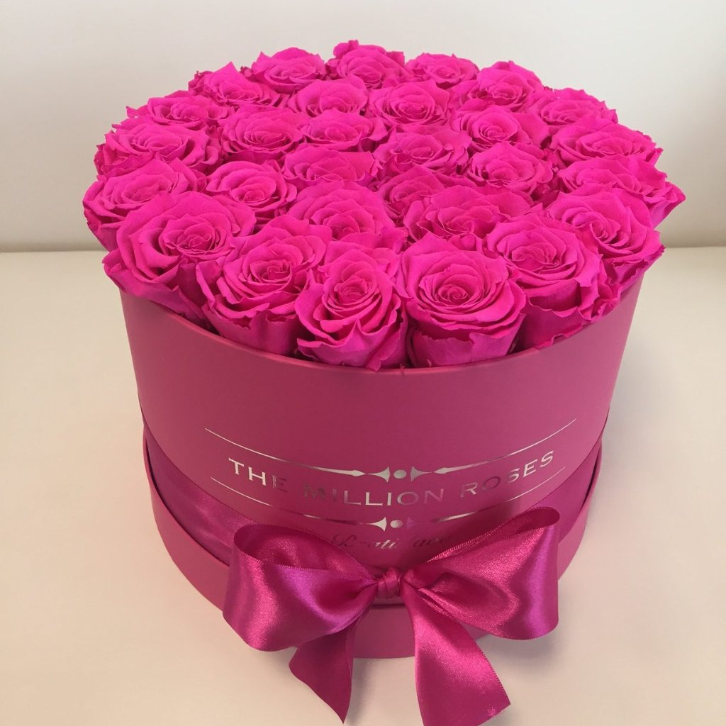 Medium - Pink Eternity Roses -  Pink Box