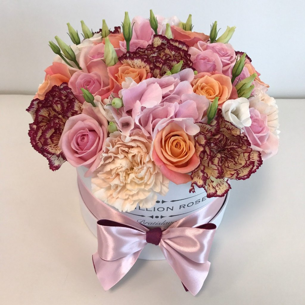 Small - Mix Roses - White Box