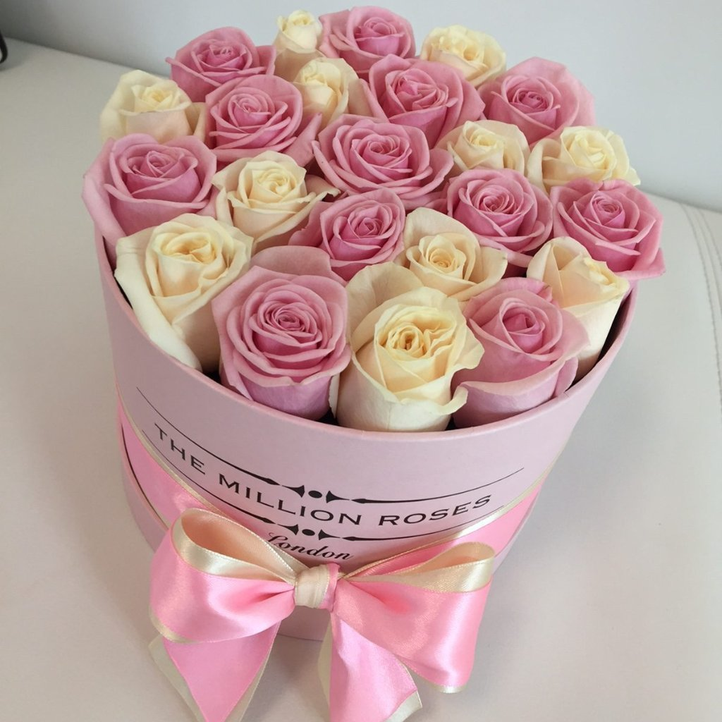 Small - White & Pink Roses  - Pink Box