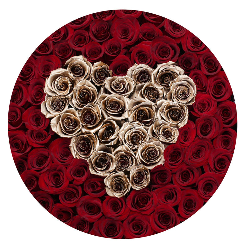 The Million Large Luxury Box - Red Eternity Roses & Golden Heart - White Box - The Million Roses Slovakia