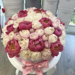 Large - Light Pink Peonies - White Box - The Million Roses Slovakia