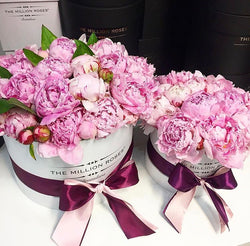 Small - Light Pink Peonies - White Box - The Million Roses Slovakia