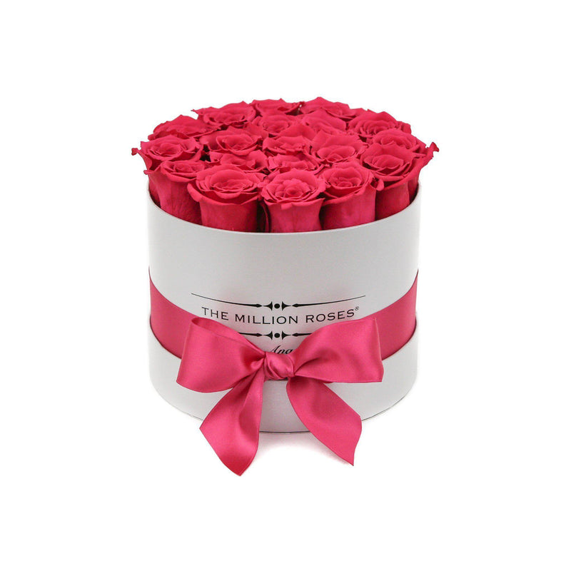 Small - Pink Roses - White Box - The Million Roses Slovakia