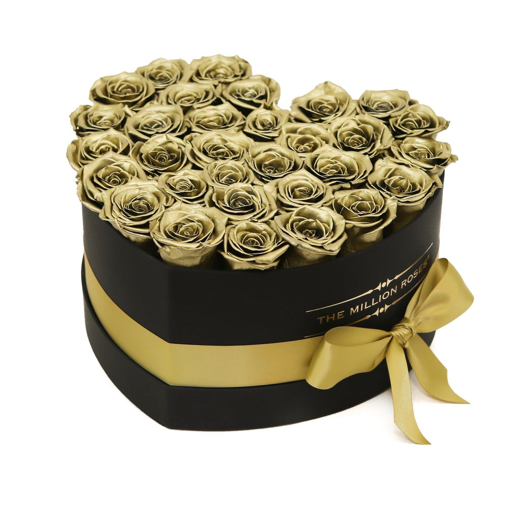 The Million Roses Europe - The Million Love Heart - Gold Eternity Roses - Black Box Delivered Anywhere in Europe